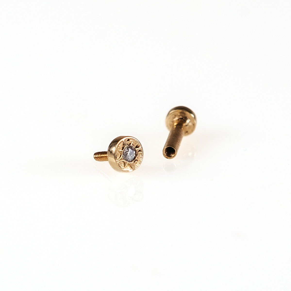 14K Gold Tragus Diamond Stud