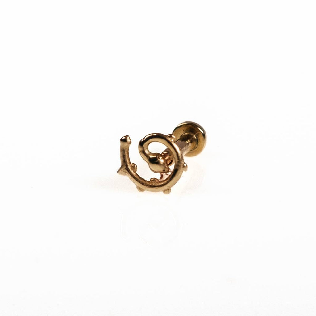 14k Gold Spiral Rose Tragus Helix Earring