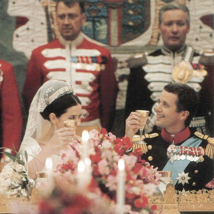 HRH Crown Princess Mary and Crown Prince Frederik of Denmark in wedding toast with Splendid crystal glasses