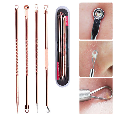 4PCS Rose Gold Blackhead Extractor Tool Acne Extractor Black Spots Remover Kit Pore Cleanser Tool Blemish Remover - blackhead-shop