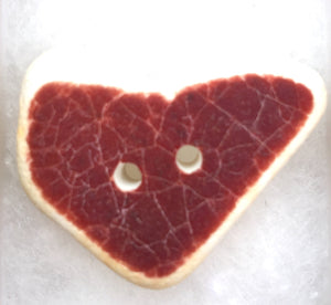 Sea pottery red heart button