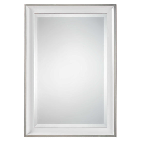 Gloss White Finish Beveled Mirror