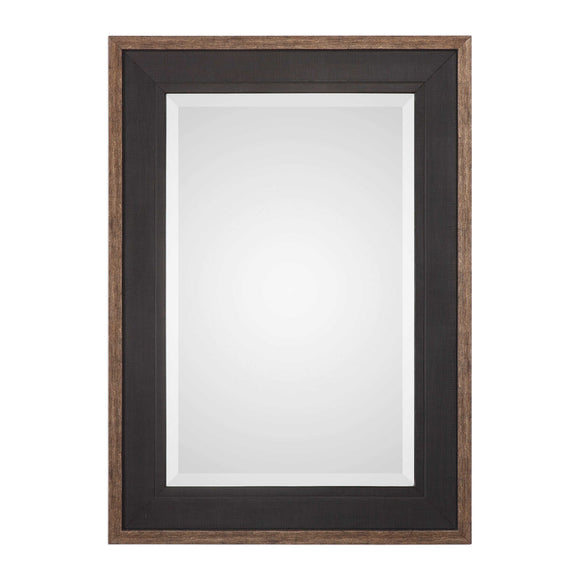 Beveled Pine and Rustic Black Mirror