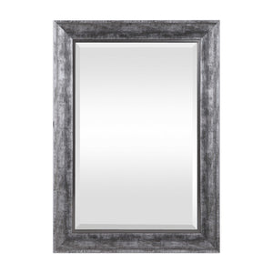 Metallic Burnished Silver Beveled Mirror