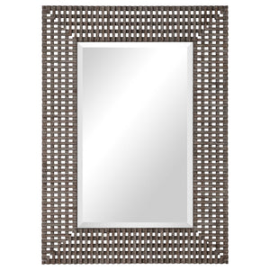 Aged Gray Crosshatched Beveled Mirror