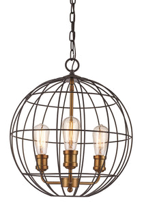 Oil Rubbed Bronze And Antique Gold 3-Light Chandelier