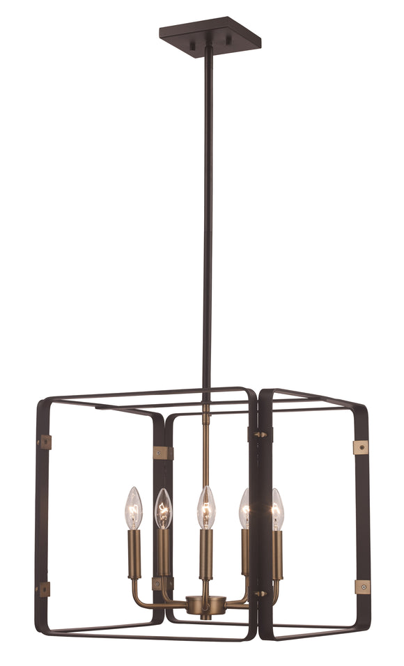 Black And Antique Gold Open Square Chandelier