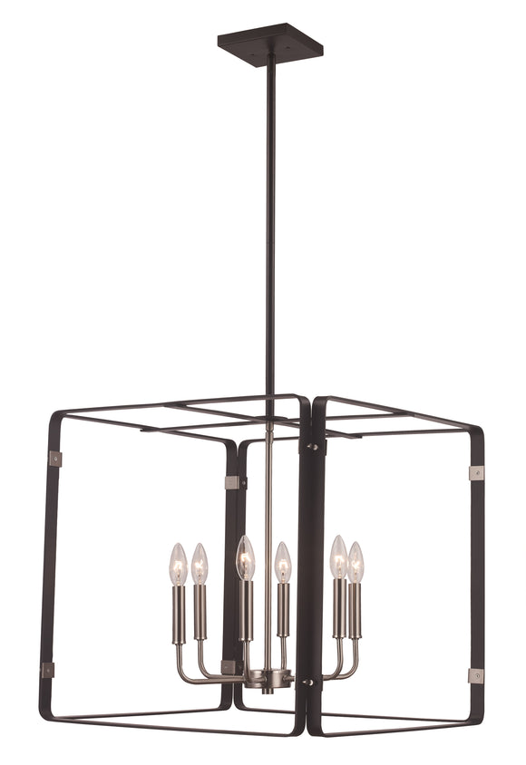 Black And Brushed Nickel Open Square Chandelier