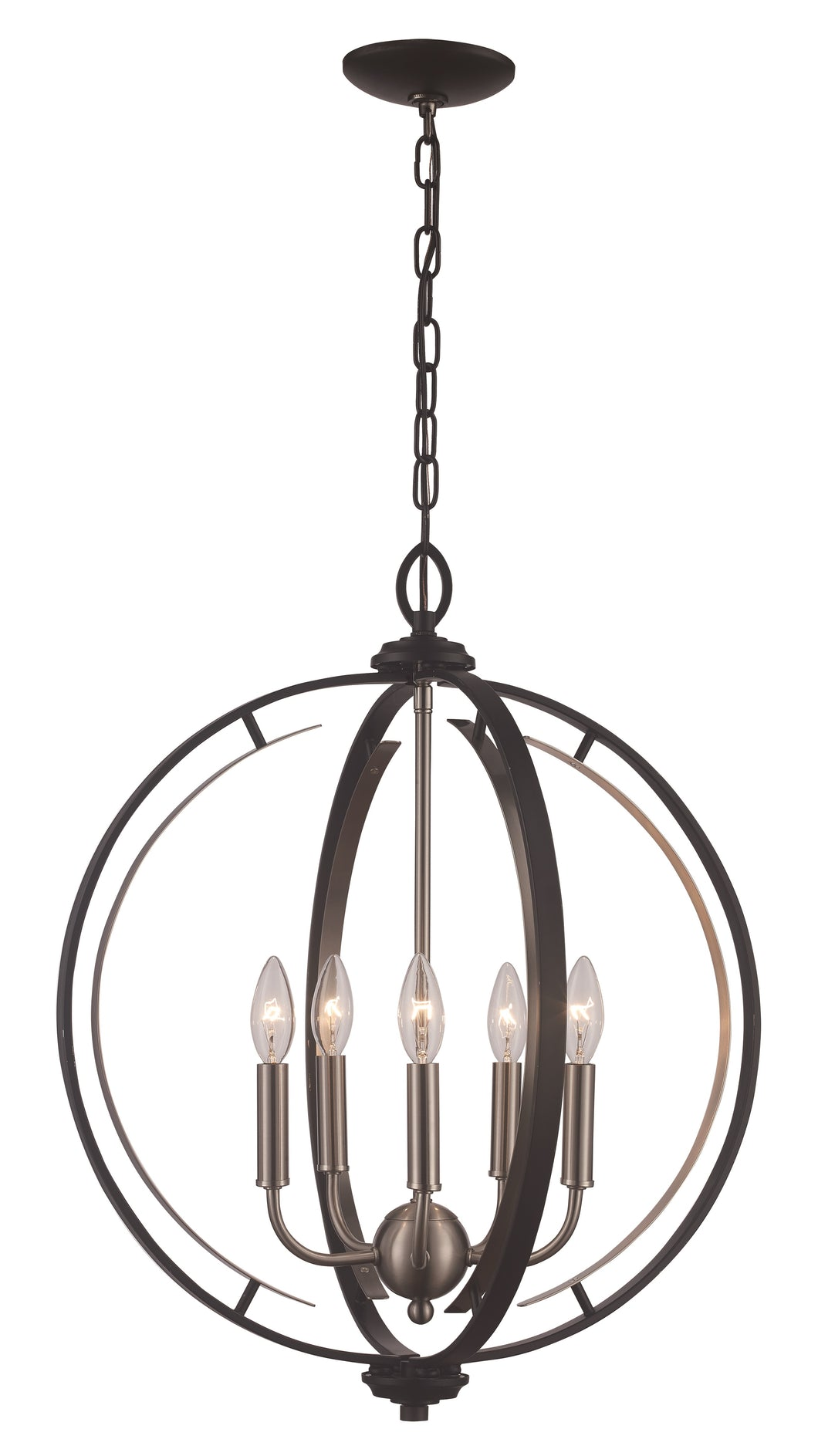 Black And Crushed Nickel Open Circular Chandelier
