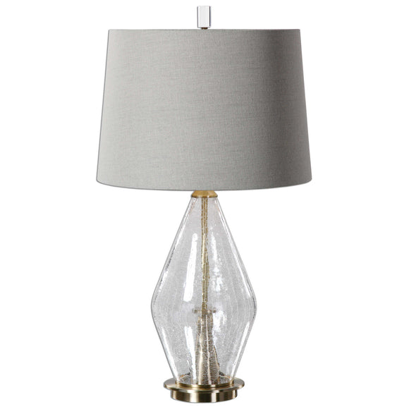 Clear Crackled Glass Table Lamp