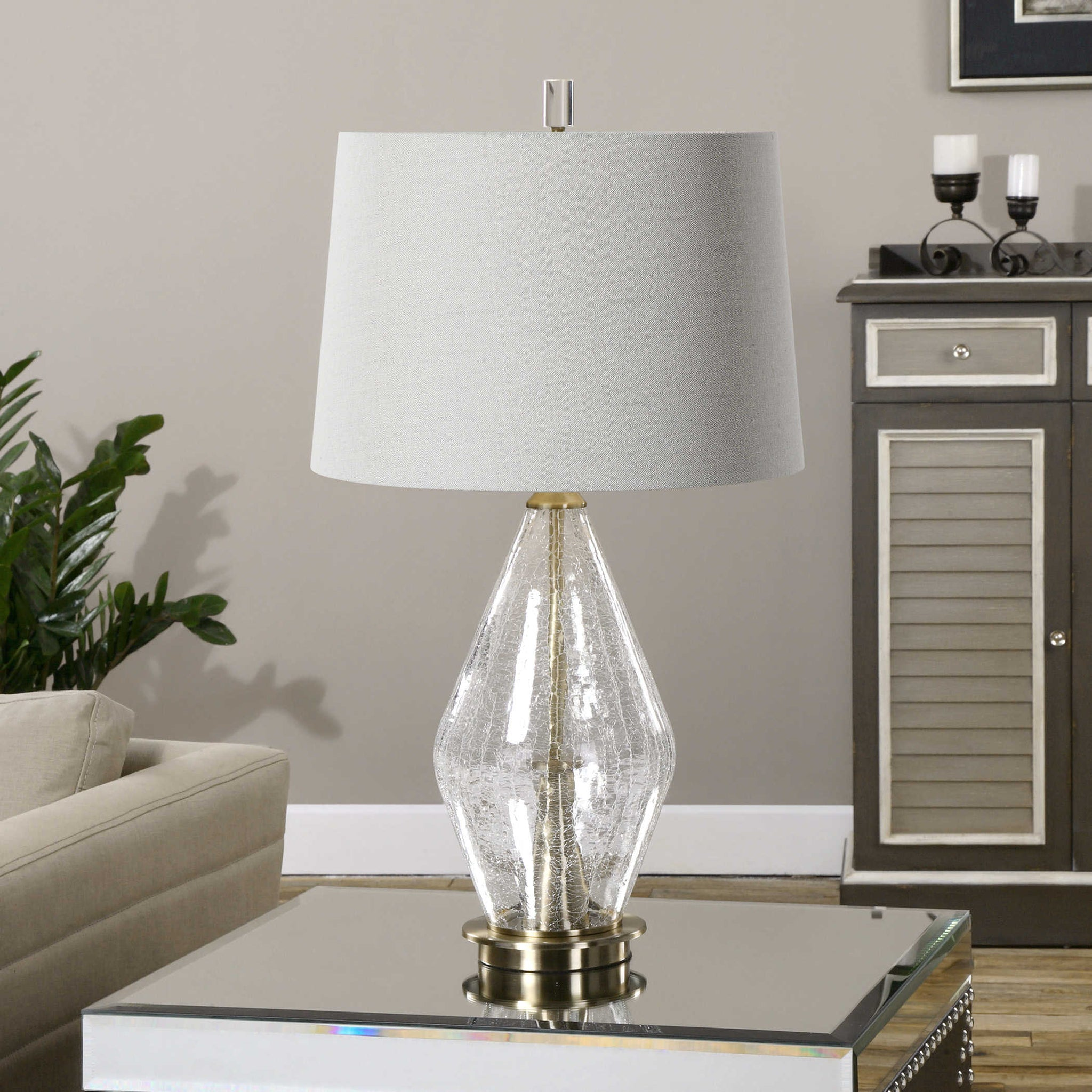 Clear Crackled Glass Table Lamp Rick S Lighting Home