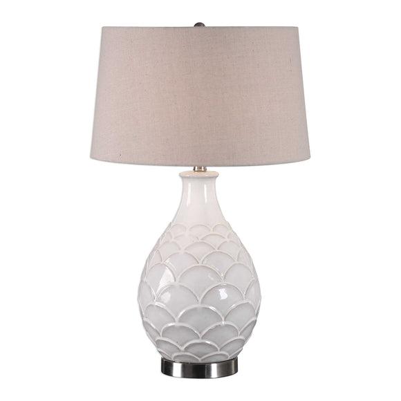 Distressed White Glazed Table Lamp