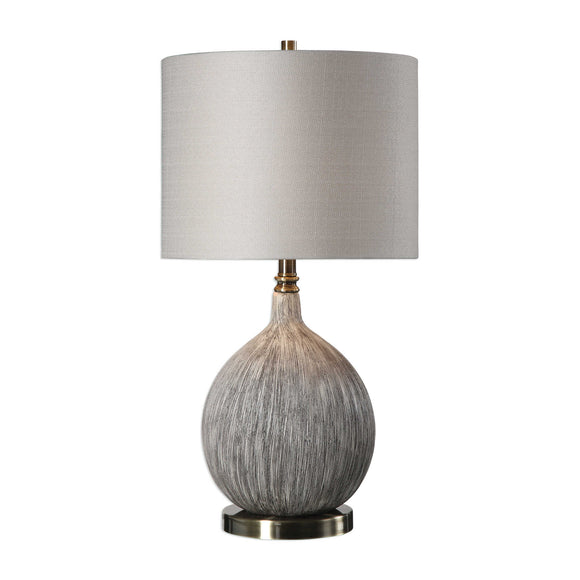 Gourd Shaped Ceramic Old Ivory Table Lamp