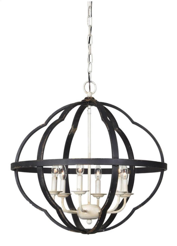 Rustic Black Finish 6-Light Chandlier
