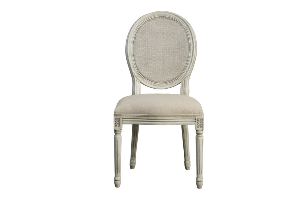 Round Mesh Back Cottage White Side Chair