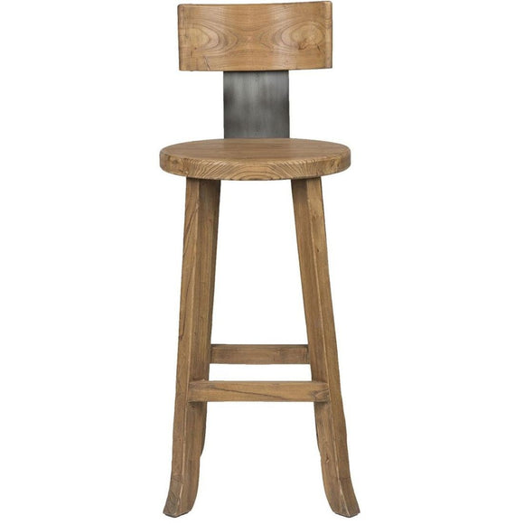 Elm Wood and Iron Bar Stool