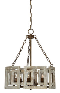 Metal and Wood 6-Light Chandelier