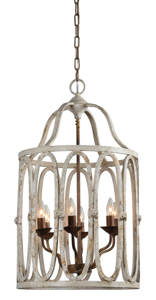 Cream and Rusty Gold Chandelier