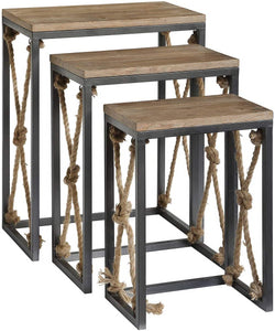 Rustic Wood and Metal with Rope Nested Tables