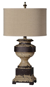 Distressed Cream and Brown Table Lamp
