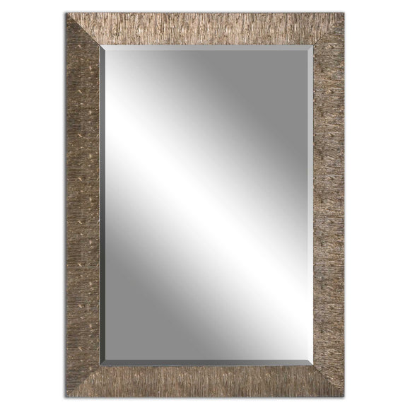 Golden Champagne Textured Border Beveled Mirror