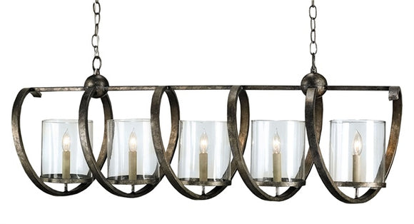 Rectangular Bronze Chandelier