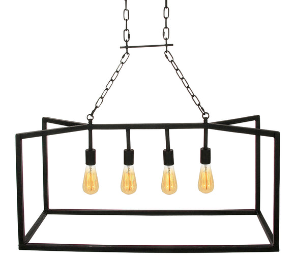 Wrought Iron Open Linear Chandelier (Shown in Flat Black)