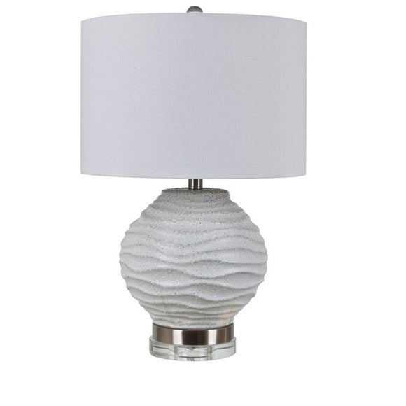 Gray Ceramic and Brushed Stainless Table Lamp