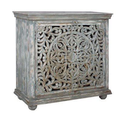 Mango Wood Carved 2-Door Cabinet