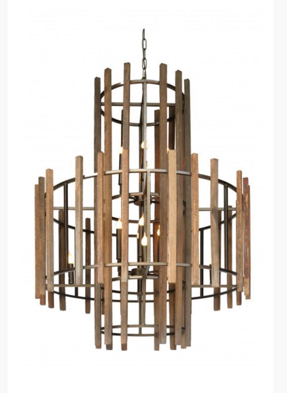 Large Old Tobacco Stick Chandelier