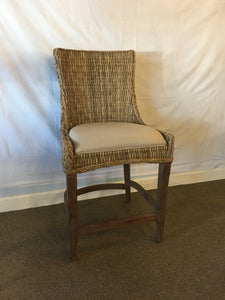 Wicker and Fabric Barstool