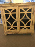All Wood Distressed Cabinet With Glass Doors