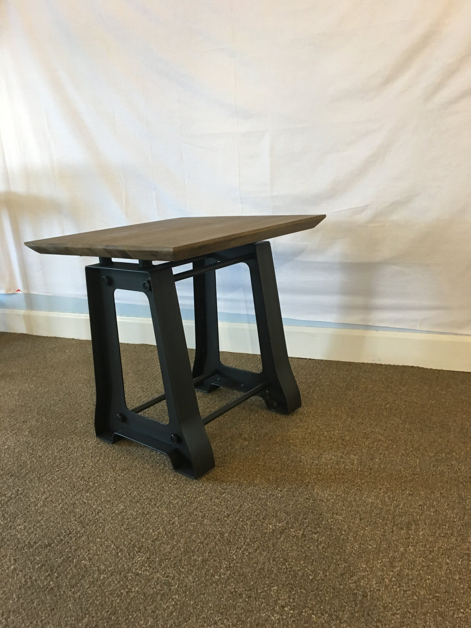 Acacia and Iron Side Table