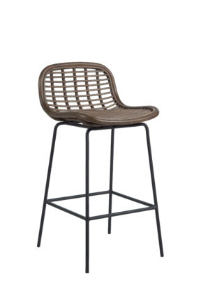 Rattan And Metal Bar Stool
