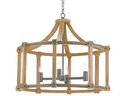 Lantern With Wood And Natural Gray Metal