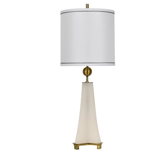 Alabaster and Antique Brass Finish Table Lamp