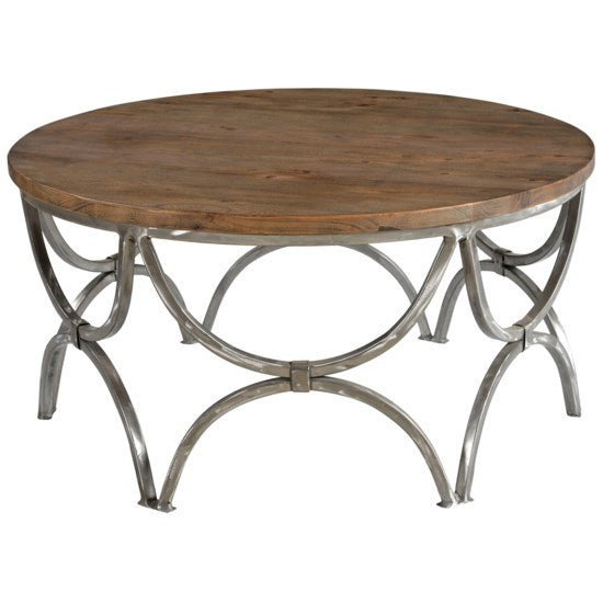 Wood and Steel Round Cocktail Table