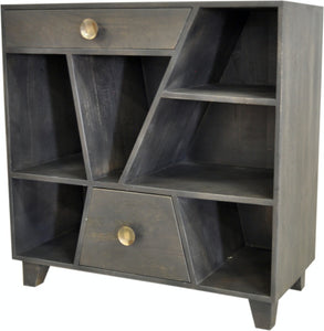 Contemporary Grey Mango Wood 2-Drawer Chest