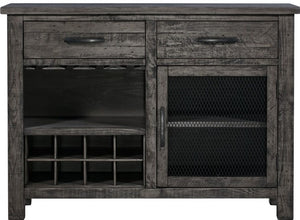 Recycled Pine Distressed Grey Wine Cabinet