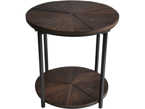 Rustic Metal And Wood End Table