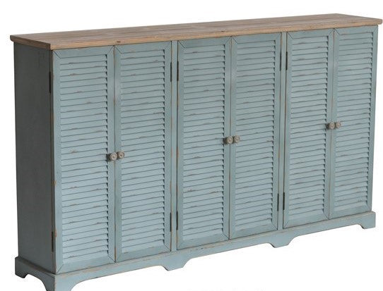 NEW ARRIVAL - Louvered Door Sea Wash Sideboard