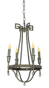 Wrought Iron 4-Light Chandelier (Shown in Deep Ocean)