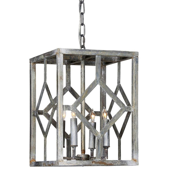 Wrought Iron Hanging Lantern (Shown in Silver Leaf Finish)