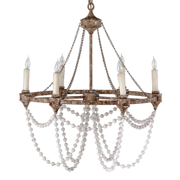 White Washed Bead and Black Iron Chandelier