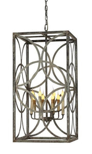 Wrought Iron Hanging Lantern (Shown in Deep Ocean Finish)