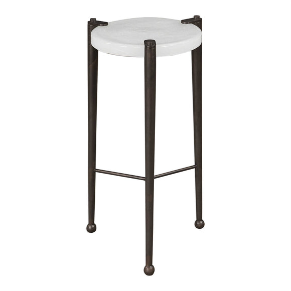 Polished Art Glass With Iron Base Accent Table