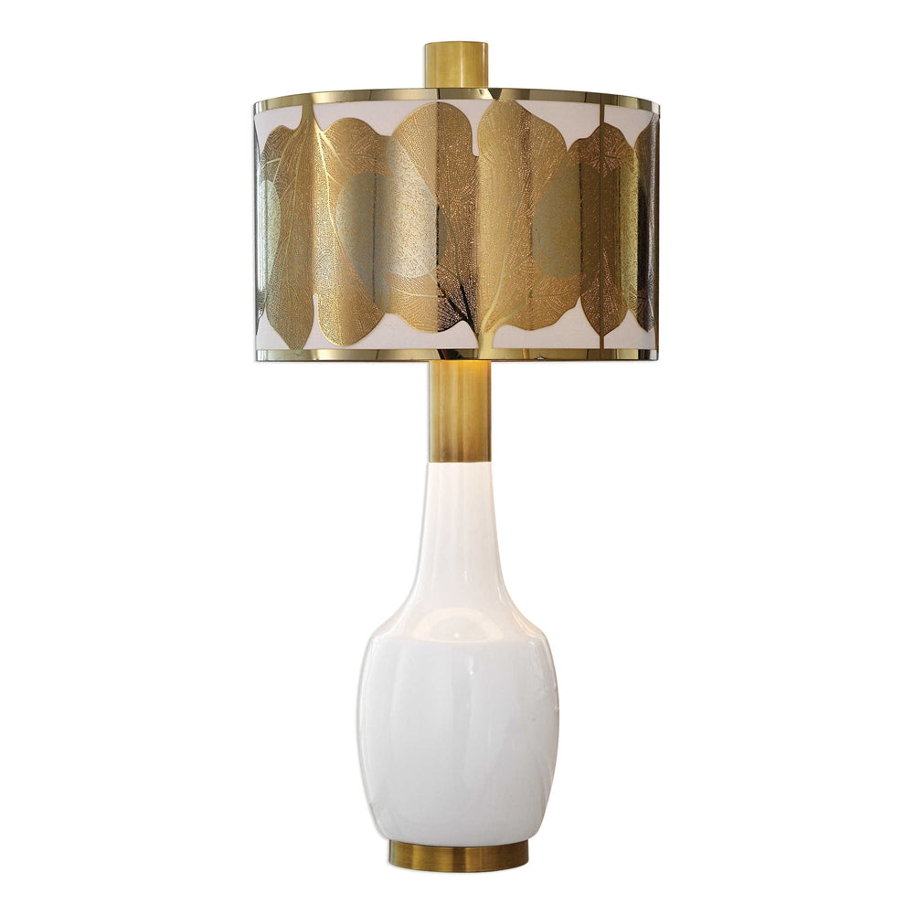 White Ceramic Lamp with Brushed Brass Leaf Shade
