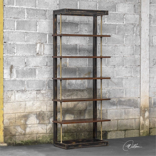 Mango Wood Display Case With Iron Support Rods