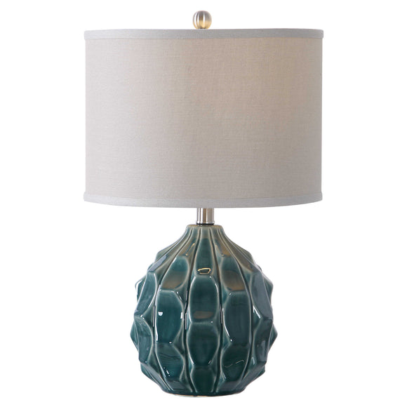 Olive Gray Scalloped Ceramic Base Table Lamp