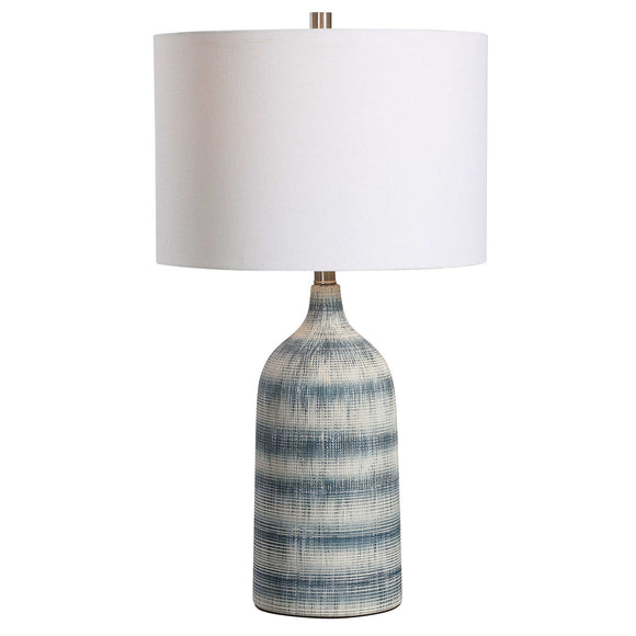 Sedate Blue and White Ceramic Table Lamp